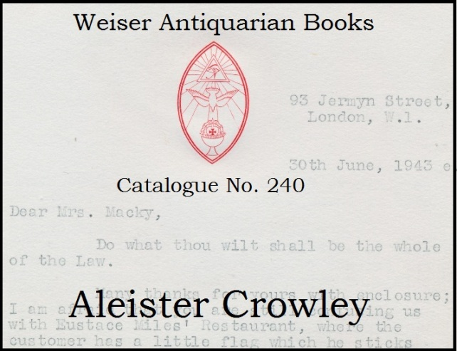 Catalogue 240: Aleister Crowley