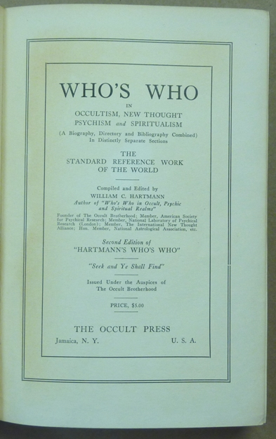 Who's Who In Occultism, New Thought, Psychism, and Spiritualism  A