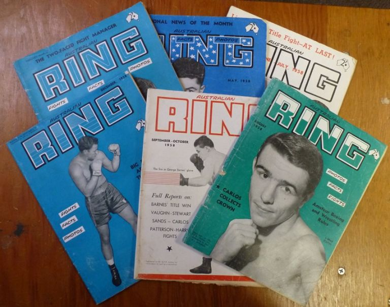 Australian Ring. Volume 7: Nos 9, 11,12,13,14,16. (Feb-March, May, June-July, Aug, Sept-Oct, Dec) 1958. ( Six issues ). BOXING, Ray MITCHELL.