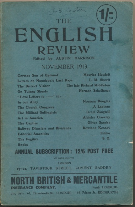 """Aleister Crowley contributes an essay """"Art in America"""" to The English Review, November 1913. Aleister contributes to CROWLEY, Austin HARRISON."""