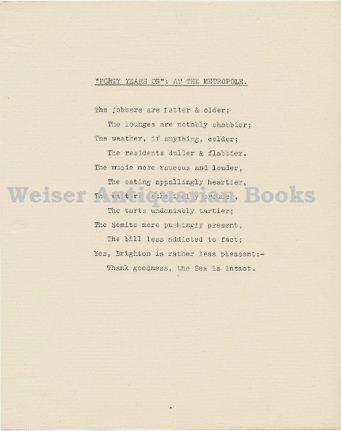 'Forty Years On: At the Metropole.' A single page mimeographed poem. Aleister CROWLEY.