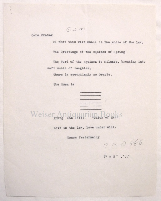 A single-sided typed document, signed, announcing the 'Word of the Equinox' for March 1933. Aleister CROWLEY.