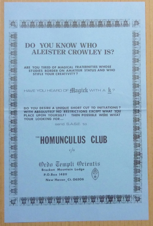 "An original promotional poster asking ""Do You Know Who Aleister Crowley Is?"" and advertising the ""Homunculus Club"" of the Brocken Mountain Lodge of the Ordo Templi Orientis. J. Edward - ""Jerry Cornelius"" CORNELIUS, Aleister Crowley: related works."