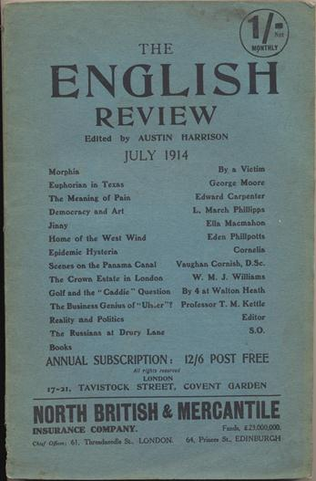 """Aleister Crowley contributes a poem, """"Morphia"""" to The English Review, Vol. XVII, No. 4, July 1914. Aleister contributes to CROWLEY, Austin HARRISON."""