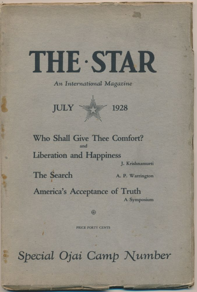 The Star: An International Magazine - Vol.I, No.7, July 1928 - Special Ojai Camp Number. KRISHNAMURTI, Marie Russak HUTCHENER.