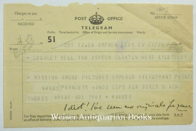 An Original Telegram Sent by Harris to Crowley, with a nine word manuscript annotation in Crowley's hand in the lower margin. Aleister CROWLEY, Frieda Harris Related materials, Lady Harris.