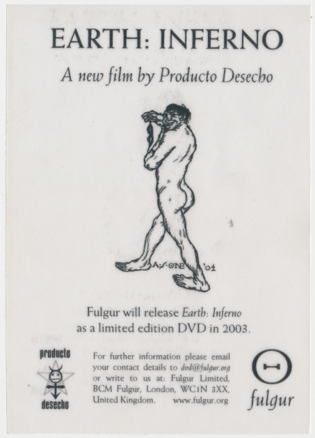 Small flier publicizing the DVD for 'Earth: Inferno - A new film by Producto Desecho'. Austin Osman SPARE.