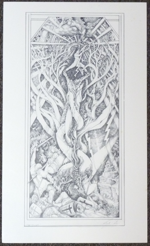 """A signed, limited-edition print of an original tarot design """"Tower"""" by Leigh McCloskey. Leigh J. McCLOSKEY."""