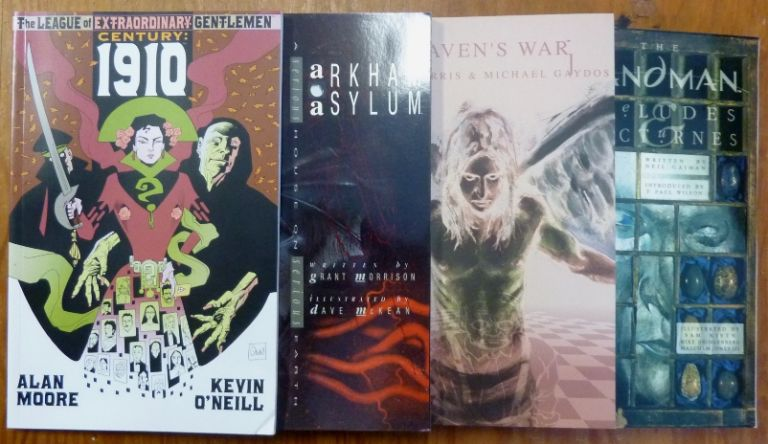 4 Graphic Novels with Crowley or Occult Related Content: The League of Extraordinary Gentlemen Century 1910; Batman Arkham Asylum; The Sandman Preludes and Nocturnes; and Heaven's War. Aleister Crowley - related works, Alan Moore, Kevin O'Neill, Grant Morrison, Dave McKean, Paul Wilson Neil Gaiman, Micah Harris, Michael Gaydos.