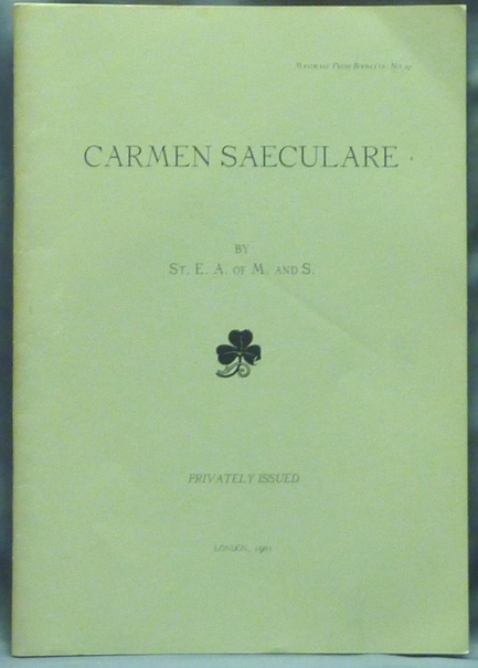 Carmen Saeculare; Mandrake Press booklets - no. 27. Aleister CROWLEY, St. E. A. of M. and S.