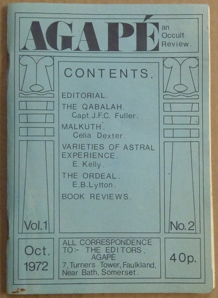 Agapé. A Quarterly Occult Review. Volume 1, No. 2 [ Agapé. The Occult Review / Agapé. An Occult Review]. Aleister CROWLEY, related works, K. A. Meyers, David Hall, Amado 777, Eliphas Levi, Aleister Crowley, Keith Allen.