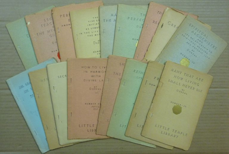 [ Collection of 17 Booklets ] The Golden Age & the Coming of the Masters to America, no. 2; Messiah Aggadoth, no. 3; The Secret Teachings of Jesus, no. 6; How to Live in Harmony with Divine Law, no. 8; Shambala or the Great White Lodge, no 9; Reincarnation- Life After Death, no. 10; Personal Experiences Among the Masters & Great Adepts in Tibet, no. 14; The Five Great Initiations as Symbolized in the Life of the Master Jesus, no 15; Astral Projection and How to Accomplish it, no 16; Many That Are Now Living Shall Never Die; no 19; Secret Teachings of the Hymalayan [ Himalayan ] Gurus, no. 23; The Perfect Way, no 24; Man and the Mystic Universe, no. 26; The World War, no 28; Spiritual Alchemisty, no 30; Webb of Destiny, no 31; The Great Temple, no 34. DOREAL, Dr. Maurice Doreal.