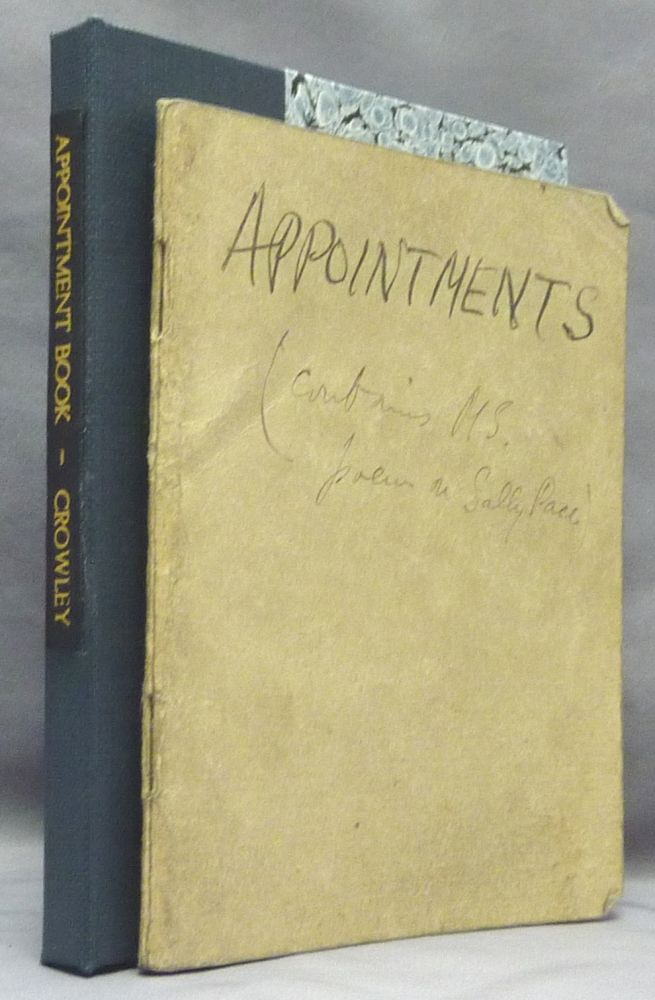 """An original Appointment Book for April-May 1938, with Crowley's manuscript notes of addresses, meetings, etc. for that period, including the original mss. of an extremely crude pornographic poem on 'Sally Pace' all written in a blank printer's """"dummy"""" of the first British edition of """"The Book of the Law."""" Aleister CROWLEY."""