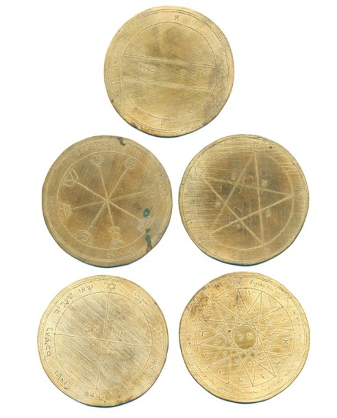 "A set of five engraved metal discs ""The Holy Pentacles or Medals"" of Mercury, after designs in the Mathers edition of ""The Key of Solomon the King"" Anonymous."