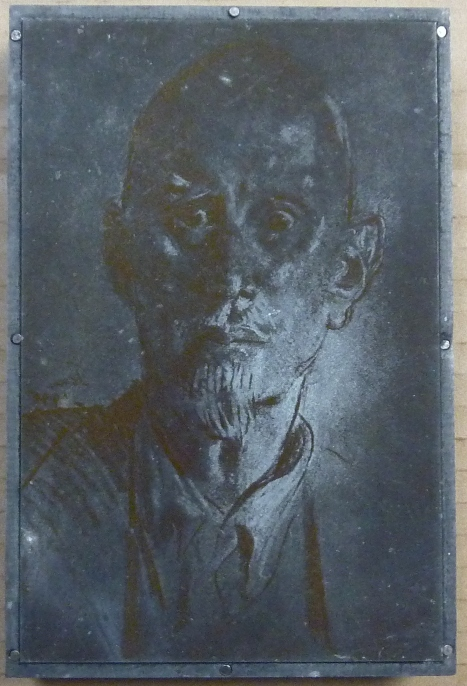 An Original Engraved Metal Printing Plate of an Augustus John portrait of Aleister Crowley which was used to print the frontispiece for his final book, Olla, An Anthology. Aleister - related material CROWLEY.