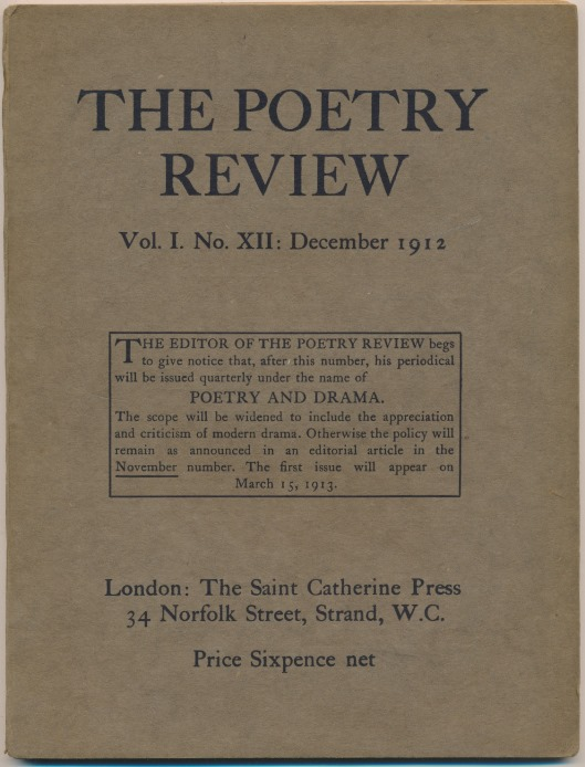"""Aleister Crowley contributes the poem """"Villon's Apology (on Reading Tennyson's Essay)"""" to: The Poetry Review, Vol. I, No. XII, December 1912. Aleister: contributor CROWLEY, Harold Monro, G. K. Chesterton Walter de la Mare, contributors."""