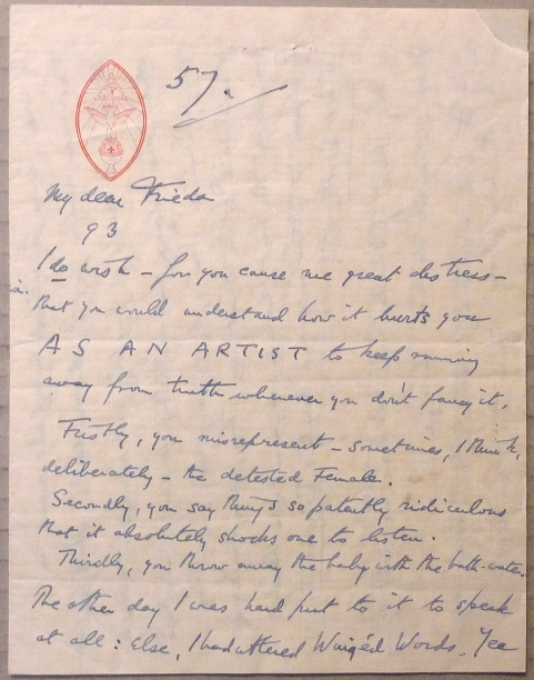 An autograph letter, Signed, from Aleister Crowley to Frieda Lady Harris. Aleister CROWLEY, Signed.