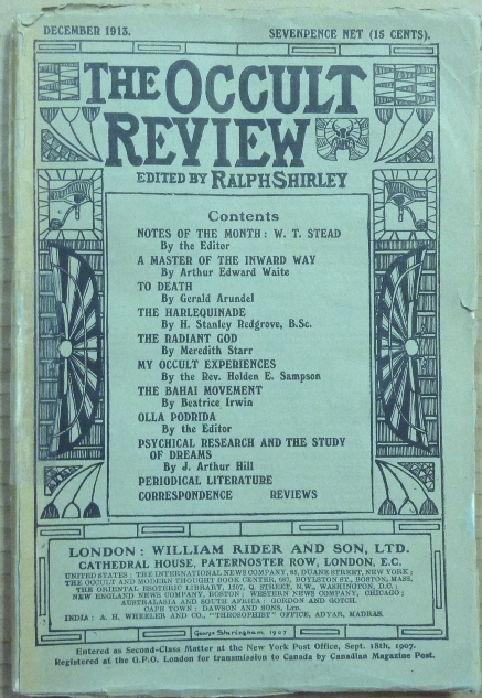 The Occult Review, Vol XVIII, No. 6, December 1913. Occult Review, Ralph SHIRLEY, Meredith Starr A. E. Waite, H. Stanley Redgrove, Gerald Arundel.