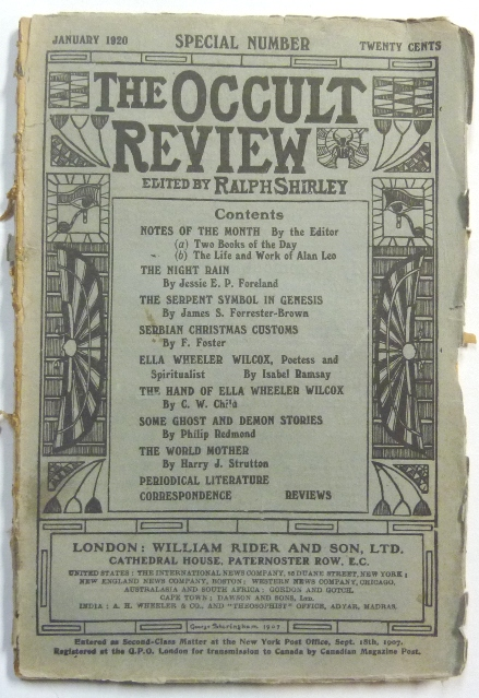 The Occult Review, Vol XXXI, No. I, January 1920. Occult Review, Ralph SHIRLEY, Jessie E. P. Foreland, James S. Forrester-Brown, F. Foster, EIsabel Ramsay, Philip Redmond, Harry J. Strutton. Also includes a. book, Arthur Edward Waite.