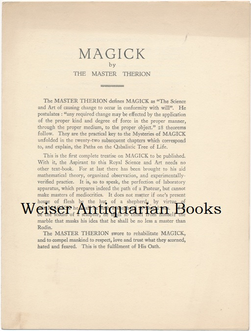 Original prospectus for Magick (also known as Magick in Theory and Practice, or Book Four / Book 4, Part III). Aleister CROWLEY, The Master Therion.