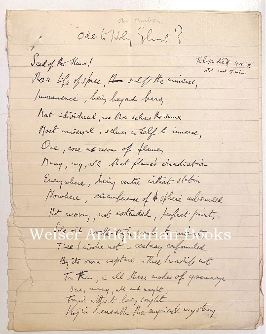 """Ode to Holy Ghost?"" The original holograph manuscript, of an apparently unpublished poem, written under the influence of opium following a sex-magick ritual with Victor Neuburg on the final day of ""the Paris Working"" Aleister CROWLEY."