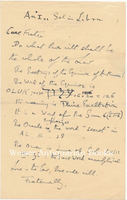 """The original holograph draft announcement of the """"Word of the Equinox"""" for September 1937. Aleister CROWLEY."""