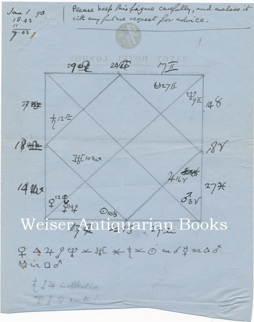 A Handwritten and Drawn Astrological Natal Chart, for an Unnamed Person, born January 1, 1893, Prepared By Aleister Crowley. Aleister CROWLEY.