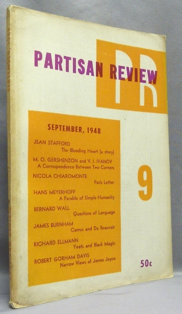 """Partisan Review. Volume XV, no. 9. Includes an essay by Richard Ellmann """"Black Magic Against White"""" William PHILLIPS, Philip Rahv, contributor Richard Ellmann, Aleister Crowley related."""