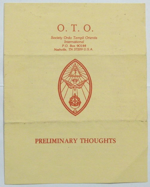 O.T.O. Society Ordo Templi Orientis. Preliminary Thoughts. Marcelo Ramos MOTTA, Aleister Crowley - related works.