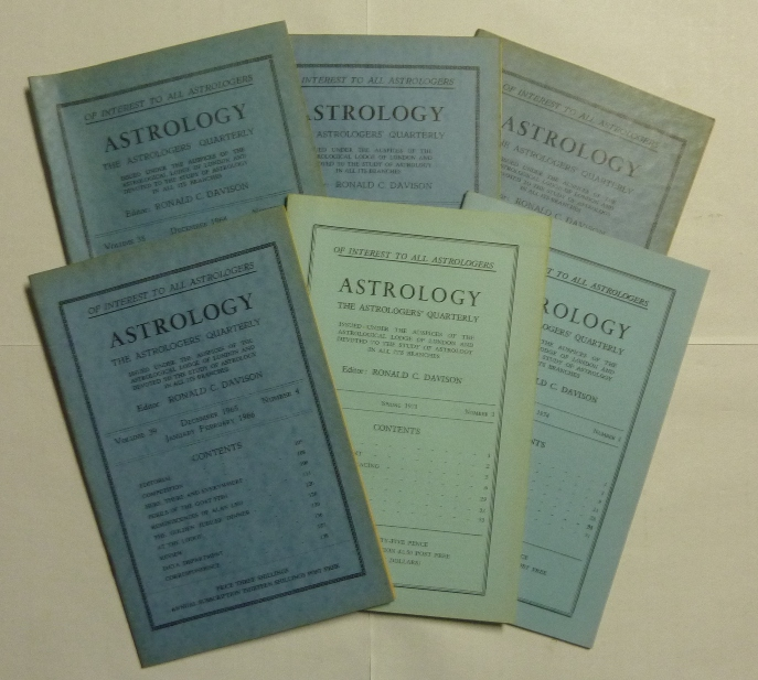 Astrology, The Astrologer's Quarterly. ( Six Issues ). Volume 38, No. 4. December 1964 - January, February 1965; Volume 39, No. 2. June, July, August 1965; Volume 39, No. 3. September, October, November 1965; Volume 39, No. 4. December 1965, January, February, 1966; Volume 47, No. 1, Spring, 1973; and Volume 48, No. 1. Spring 1974; Issued under the Auspices of the Auspices of the Astrological Lodge of London and Devoted to the Study of Astrology in All its Branches. Ronald C. - DAVISON, Jean Overton Fuller authors including: C. E. O. Carter, Jeff Mayo, Arthur Gauntlett among others, Aleister Crowley: related material.
