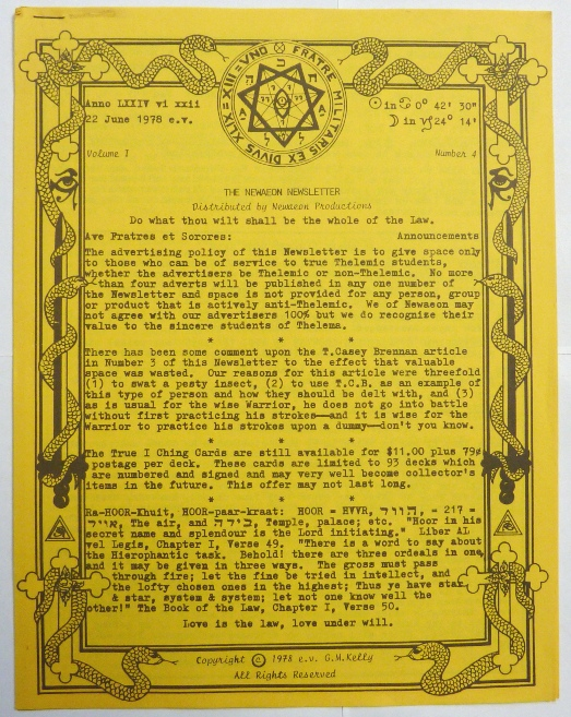 The Newaeon Newsletter, Volume I, No. 4. June, 1978. G. M. KELLY, Francis King related works Aleister Crowley.