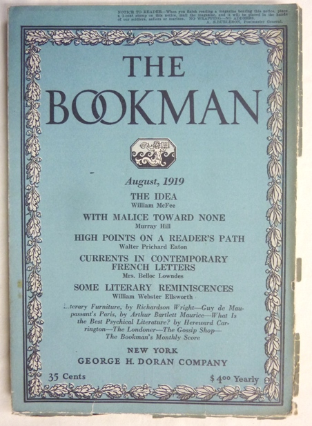 The Bookman, August 1919 - Vol. XLIX, No.6. Hereward CARRINGTON, other authors contribute to George H. Doran -, Aleister Crowley: related work.