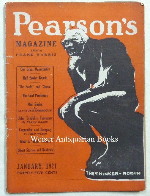 Pearson's Magazine, Volume 46, No. 7. January 1921. Frank HARRIS, contributor, related material Aleister Crowley.