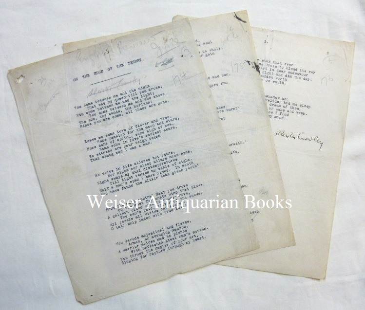 """""""On The Edge of the Desert"""" An early 3-page typescript of this long poem. The typescript includes two verses and a dedication not present in the original published version. It has several manuscript corrections, and is signed twice by Crowley - one pencilled signature struck through. Aleister CROWLEY."""