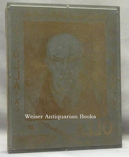 """The Original Engraved Metal Printing Plate Used for the Front Panel of the Dust Jacket of Crowley's final book, """"Olla, An Anthology."""" It comprise a portrait of Crowley by Frieda Lady Harris, Surrounded by Titling (the lettering is of course reversed). Aleister - related material CROWLEY, Frieda Lady Harris."""