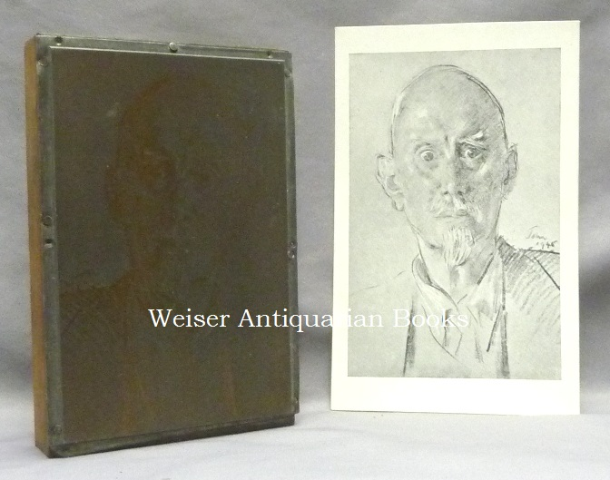 The Original Engraved Metal Printing Plate of a Portrait of Aleister Crowley by Augustus John which Crowley Used to Print a Post-card which he Distributed to Friends. With An Original Example of the Postcard. Aleister - related material CROWLEY, Augustus John.