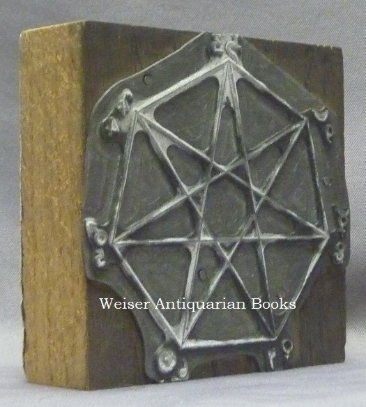 An Original Cast Metal Printing Plate of an Occult Diagram Depicting a Heptagram within a Heptagon, with Astrological Symbols at Each of the Points. Aleister - related material CROWLEY.