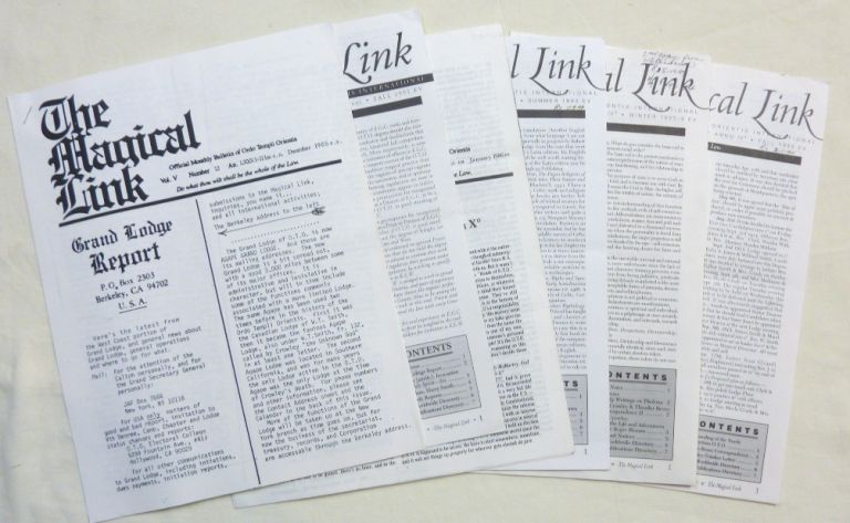 """The Magical Link."" 6 miscellaneous issues of the journal, Published by the O.T.O., (Not consecutive or a complete set). From the library of Helen Parsons Smith. Aleister CROWLEY, Hymenaeus Beta, authors."