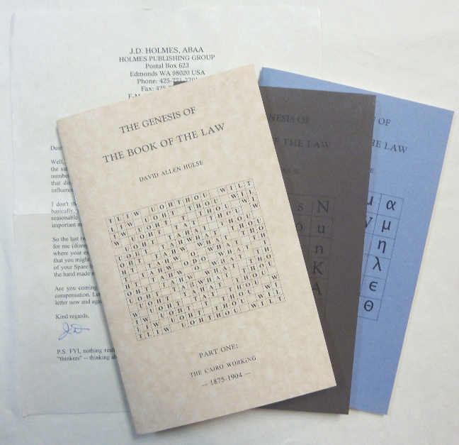 The Genesis of the Book of the Law. Part One: The Cairo Working - 1875-1904; Part Two: The Birth of the A.'. A.'. and the Legacy of the OTO - 1905-1914, and Part Three: The Coming of the Magical Child. 1915 - 1962 ( Three Volume Set ) With loosely inserted letter from the publisher. David Allen HULSE, Adrian Axworthy, Aleister Crowley related.