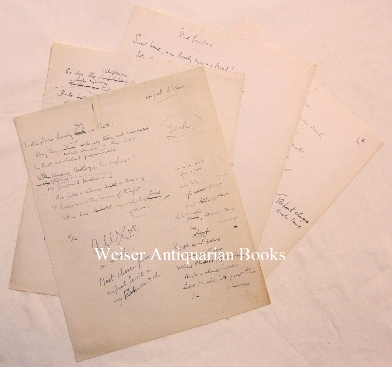 "Four pages of original holograph notes by Crowley towards a translation of Baudelaire's poem ""Le Jet d'eau"" (""The Fountain""). Aleister CROWLEY, translates Charles Baudelaire."