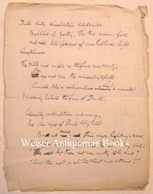 """An untitled single-leaf original holograph manuscript with poetry fragments on both sides. The first poem begins """"Dull dirty décolleteés dilettante ..."""" A substantially revised version of the fragments was published in """"The International"""" magazine, January 1918 as """"A Poetry Society-in Madagascar?"""" Aleister CROWLEY."""