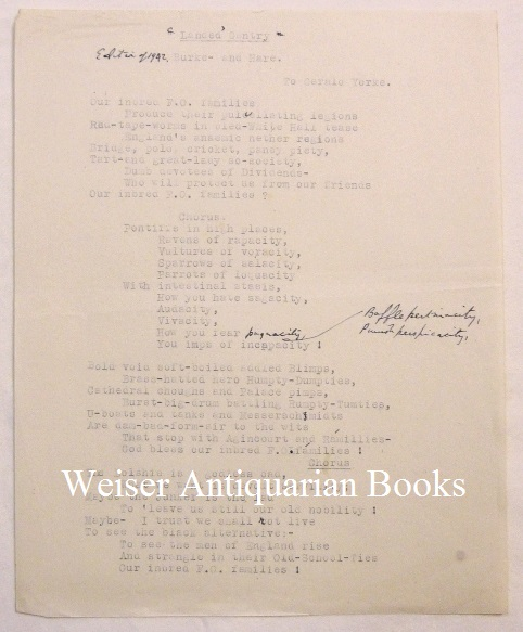 """""""Landed Gentry"""" A typescript with manuscript additions in Crowley's hand. Aleister CROWLEY."""