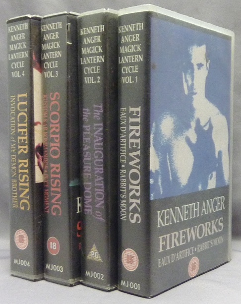 Kenneth Anger, Magick Lantern Cycle, Volumes 1 - 4, VHS VIDEO TAPES. Volume: 1 Fireworks, Eaux of D'Artifice + Rabbit's Moon. Volume: 2 The Inauguration of the Pleasure Dome. Volume 3: Scorpio Rising, Kustom Kar Kommandos and Volume 4: Lucifer Invocation of My Demon Brother, Lucifer Rising. Kenneth - SIGNED ANGER, Aleister Crowley related, From the David Tibet collection.