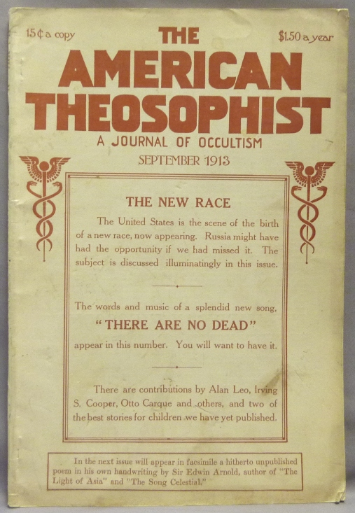 The American Theosophist. A Journal of Occultism ( Vol. XIV, No, 12, September, 1913 ). Theosophy, Irving S. Cooper, Alan Leo, John M. Macmillan, Frank L. Reed.