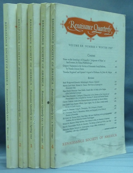 Renaissance Quarterly ( 5 issues ) Vol. XX, No. 1 (Spring, 1967), Vol. XX, No. 2 (Summer, 1967), Vol. XX, No. 4 (Winter, 1967), Vol. XXI, No. 2 ( Summer, 1968) and Vol. XXII, No. 4. (Winter, 1969). Elizabeth Story DONNO, Contributors.