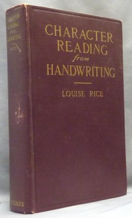 Character Reading From Handwriting. Louise RICE