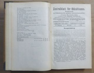 Zentralblatt für Okkultismus. Monatsschrift zur Erforschung der gesamten Geheimwissenschaften. XI and XII, Jahrgang 1917 / 1918; (Volume XI, issues no. 1 - 12, Vol. XII, issues 1-5 )