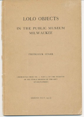 Lolo Objects. In the Public Museum - Milwaukee. Frederick STARR