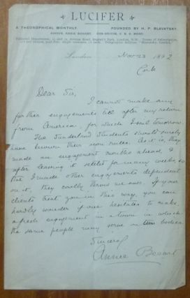 An original autograph letter, signed, on the letterhead of the occult journal Lucifer. 1892. Annie BESANT.