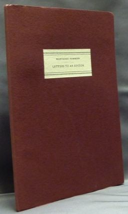 Letters to an Editor. Montague Summers to C.K. Ogden. Edited, D E. Wickham